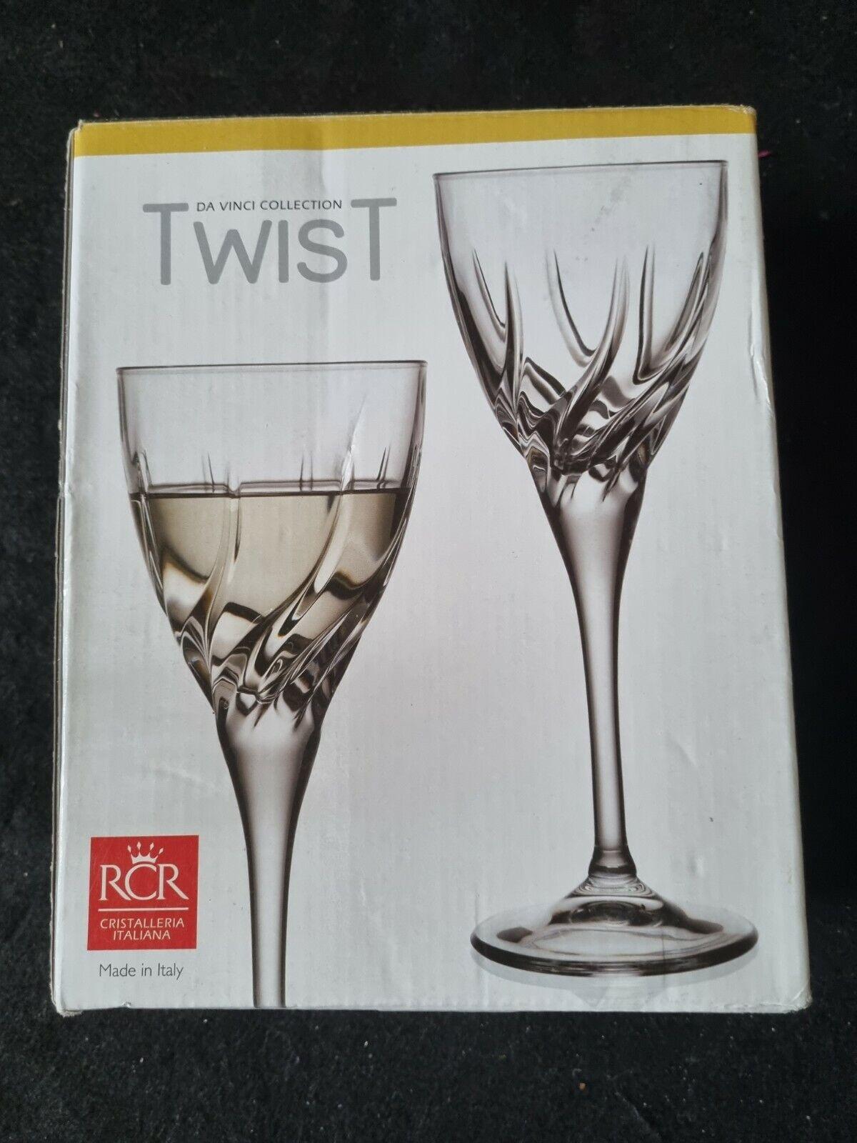 RCR Crystal Da Vinci Collection Twist Crystal White Wine Glasses x 2