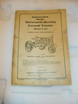 Mccormick Deering F-20 Tractor 1937 Instruction Book Ih Both Insert Posters