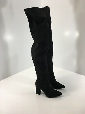 Boohoo Women Faux Suede Interest Heel Sock Fit Knee High Boots Black Size 7 NEW=