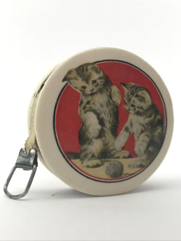 Vintage Celluloid Cat Kittens Sewing Cloth Tape Measure