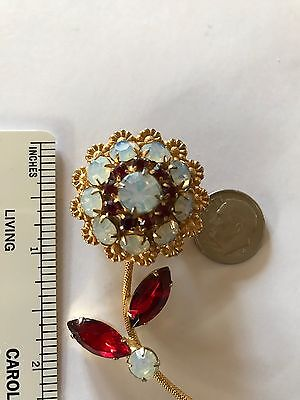Vintage Red Rhinestone Aurora Borealis Pin Flower Brooch