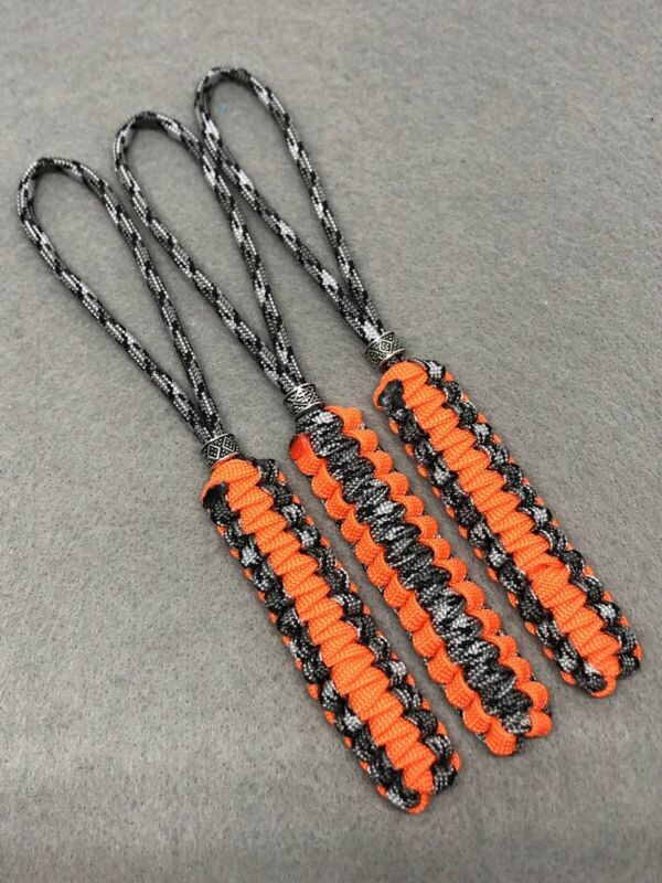 550 Paracord Knife Lanyard 3 Pk  Gutted Titanium & Orange With Metal Bead
