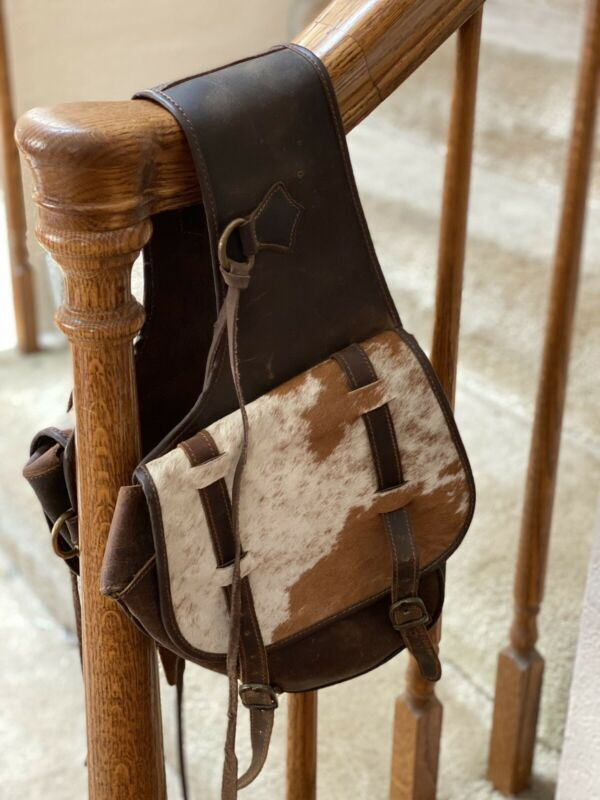 Leather & Hair On Cowhide Cantle Western Endurance SADDLE BAG