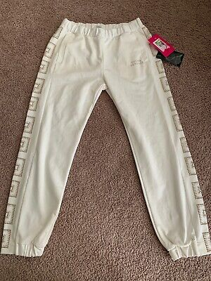 Young Versace Kids Girls Small S 10 10Y New Jogger Sweatpants White Gold Nwt