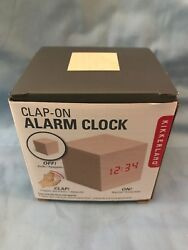 KIKKERLAND CLAP-ON ALARM CLOCK CUBE ALARM CLOCK AC22  LIGHT WOOD NEW