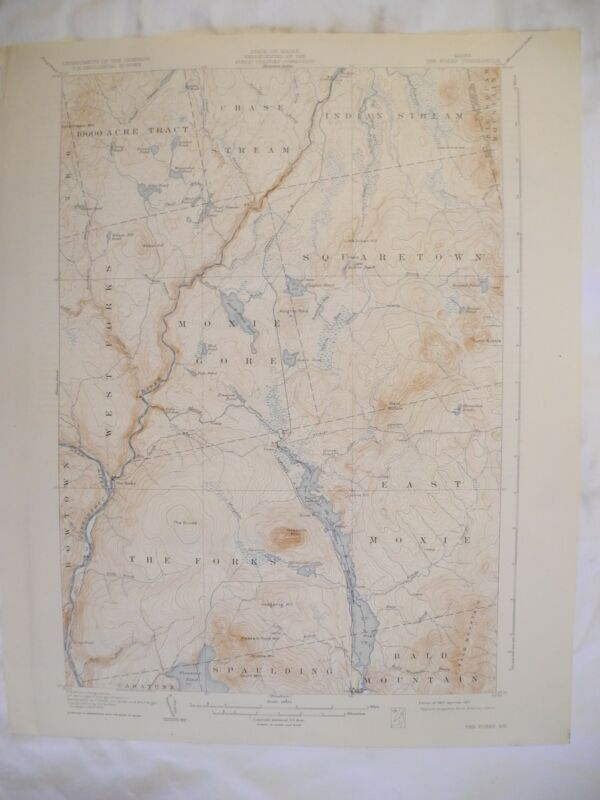 1927 The Forks, ME Maine USGS Topographic Topo Map