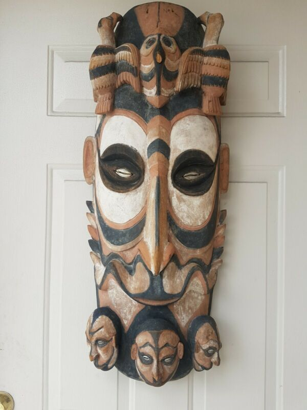 Antique Papua new guinea mask in The  Area Of Sepic River Size 12x34 1920s 30s.