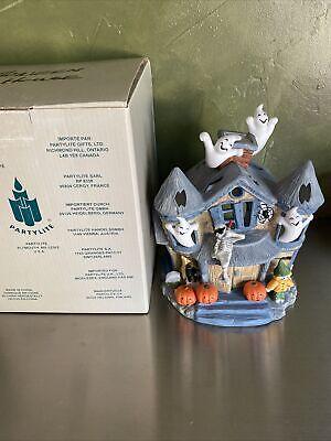 Partylite Haunted Tealight House Ceramic Halloween Decor Ghosts w/Box