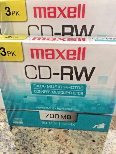 Maxell CD-RW 700 MB Rewritable Discs, 1x-4x, 80 min - 6 pack