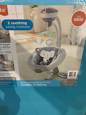 Fisher-Price DRG41 Sweet Surroundings Monkey Cradle 'n Baby Swing Grey Open Box