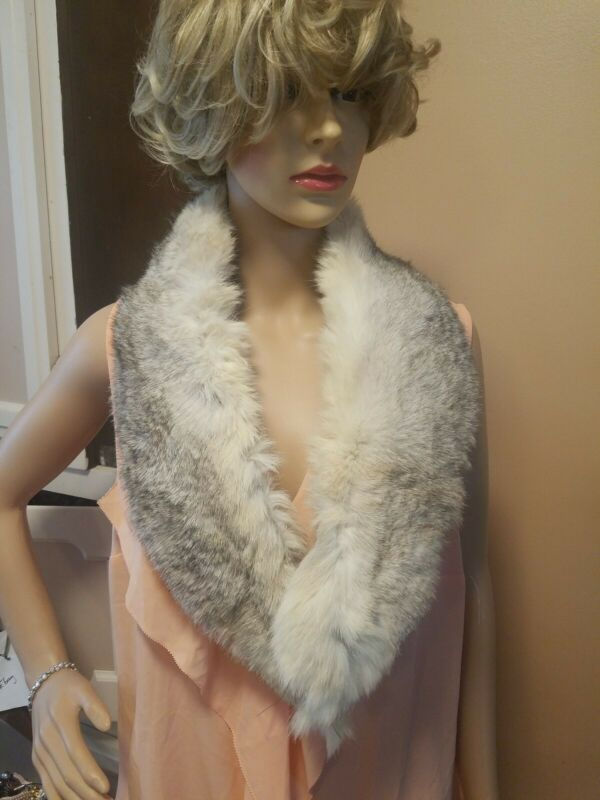 Vintage Geniune Coyote Fur Wrap Shaw Scarf #5004