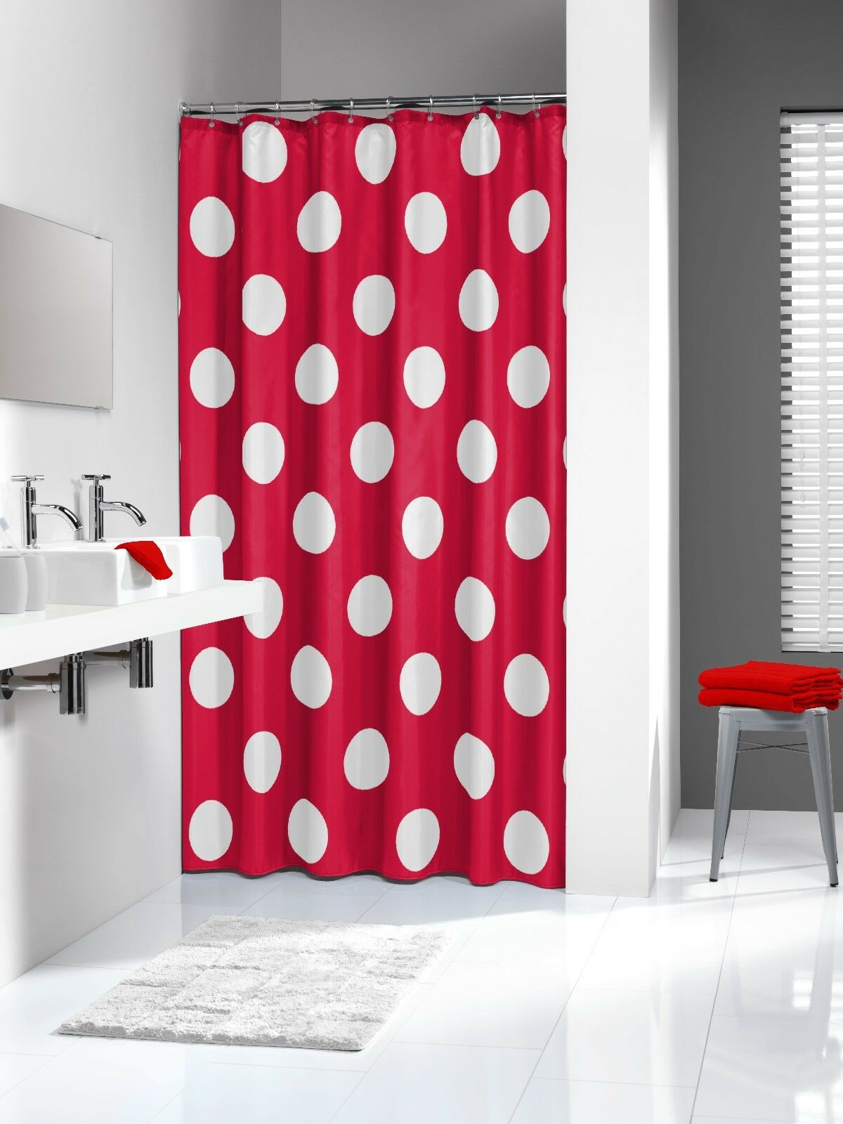 Extra Long Shower Curtain 72 x 78 Inch Sealskin Polka Red