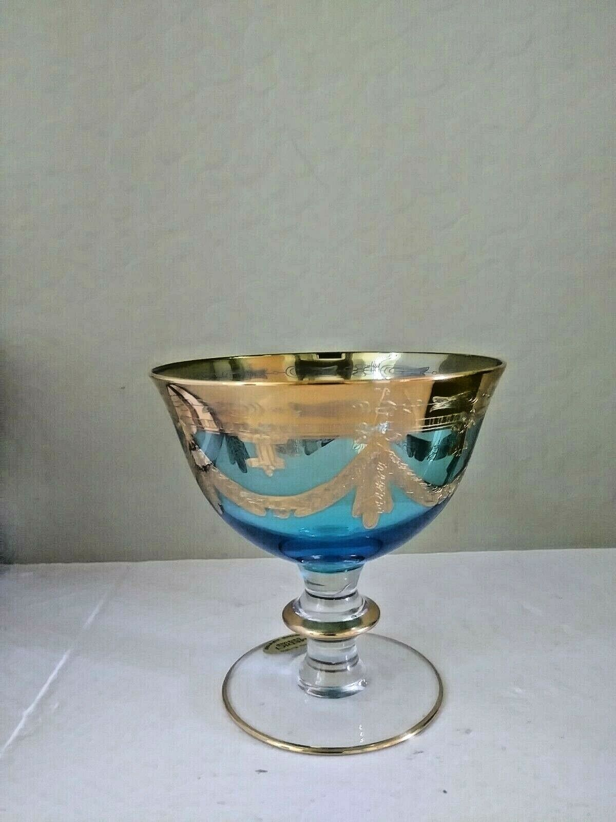 Arte Italica Blue Crystal MEDICI 24K Gold Swags Sherbet Goblet - $19.95