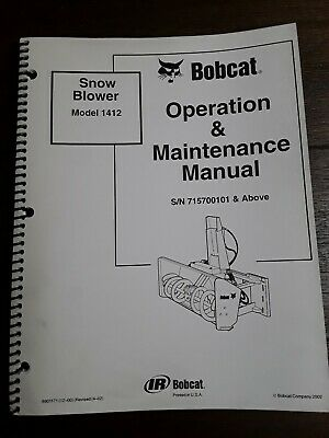 Bobcat Snow Blower Model 1412 Operation Maintenance Manual