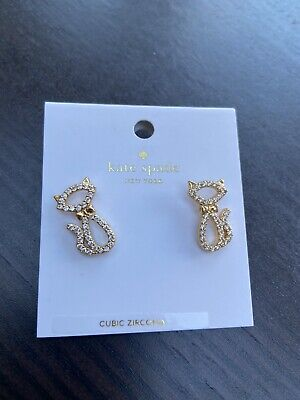 KATE SPADE New York Gold Cat Stud Earrings Cubic Zirconia with Pouch - BNWT