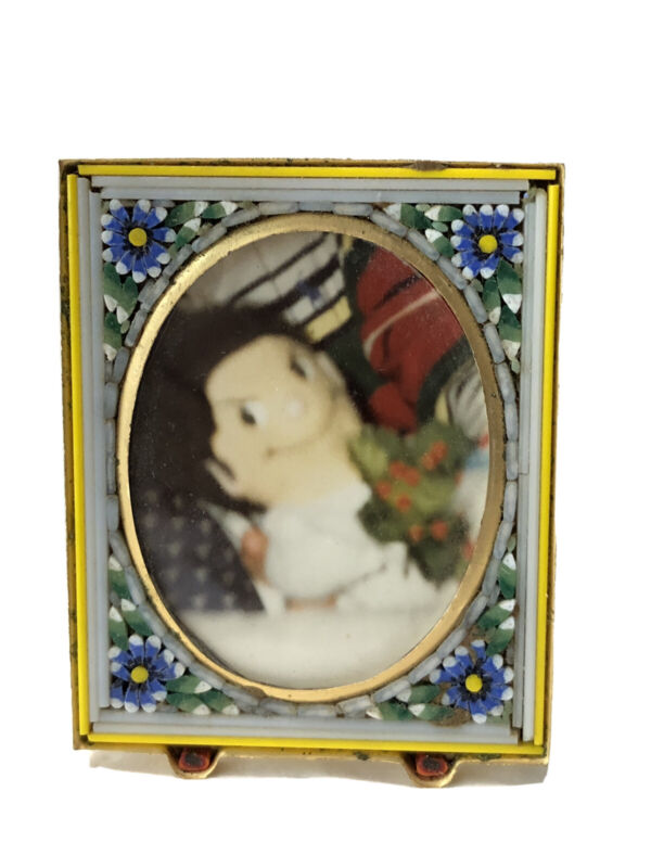 Vintage Italy Micro Mosaic Brass Easel Back Photo Picture FraMe
