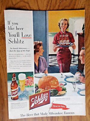 Halloween Theme Dinner (1953 Schlitz Beer Ad  Halloween Dinner Pumpkin)