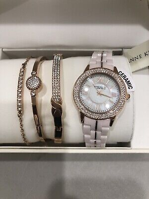 Ceramic Watch & Bangle Set Anne Klein NY Women's Rose Tone Mothers Day Gift