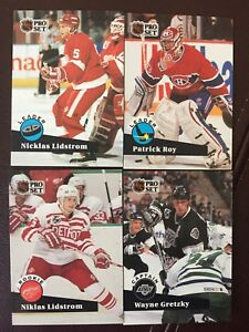 NHL hockey cards, Lidstrom, Roy, Gretsky