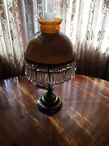 Antique glass light with crystals