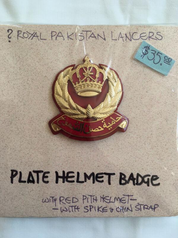 Royal Pakistan Lancers (?) plate helmet badge for red pith helmet