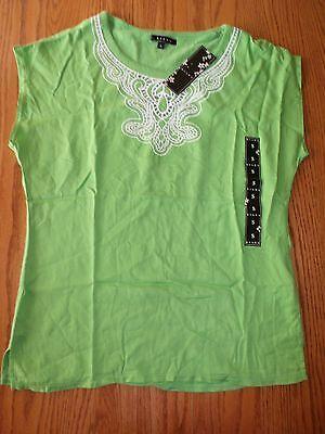 Apple Top Shirt (Nwt Womens Kiara Green Apple Top Knit Blouse Short Sleeve Small S Shirt)