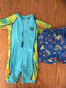 24 MONTH SWIM WEAR, LINED SHORTS & 1 PIECE ZIP UP, VELCRO BOTTOM