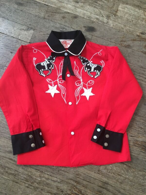 Vintage Kids 50s 60s Roy Rogers Fancy Cowboy Western Shirt Youth 8-10 Red Black