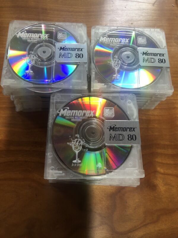 30- Memorex MD 80.  30 discs Clear Crystal  Mini Discs.