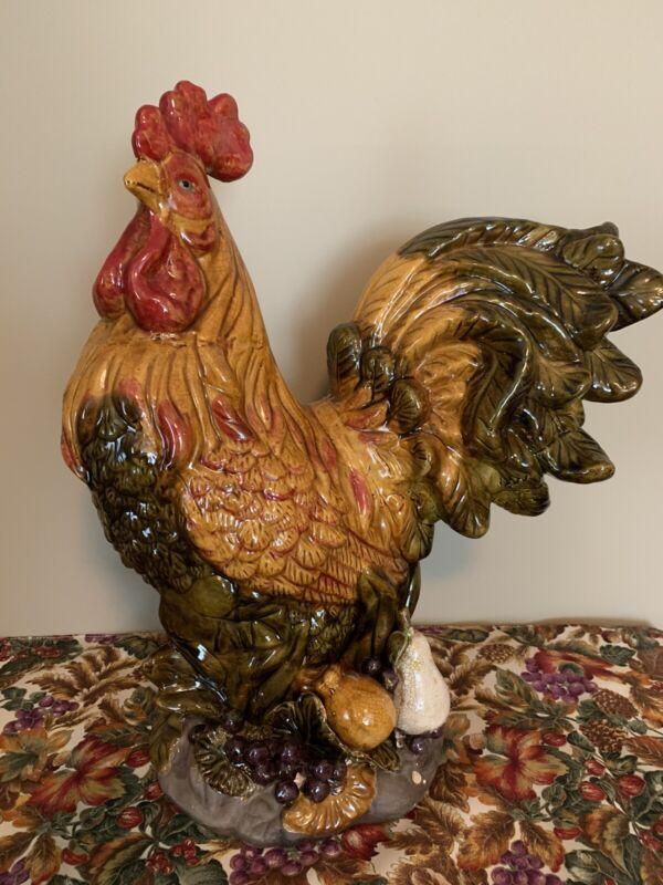 "LARGE ROOSTER CHICKEN ~ Ceramic Glaze Multi Color Decor 19"" Tall x 15"" Farmhouse"