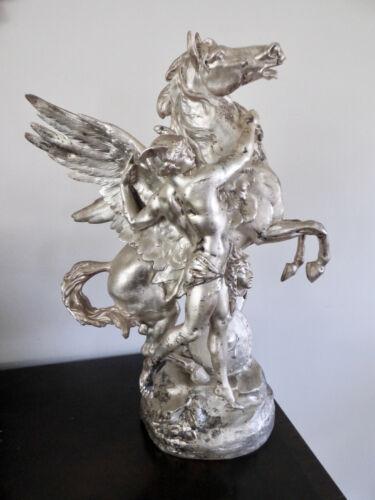 Antique Emile Picault Sculpture Pegasus Perseus Medusa