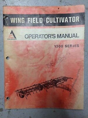 Allis Chalmers 1300 Wing Field Cultivator Operation Operators Manual