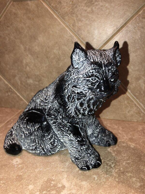 Rare Vintage Aardvark Canada Black Bobcat Soapstone Carving 1972