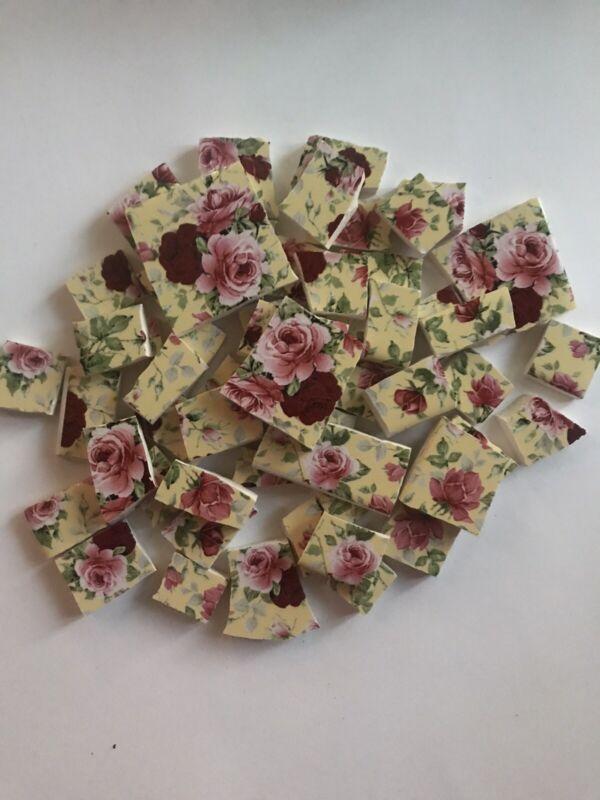 Fabulous & Flat 50 Red & Pink Rose Chintz Kiln Fired Ceramic Mosaic Tiles