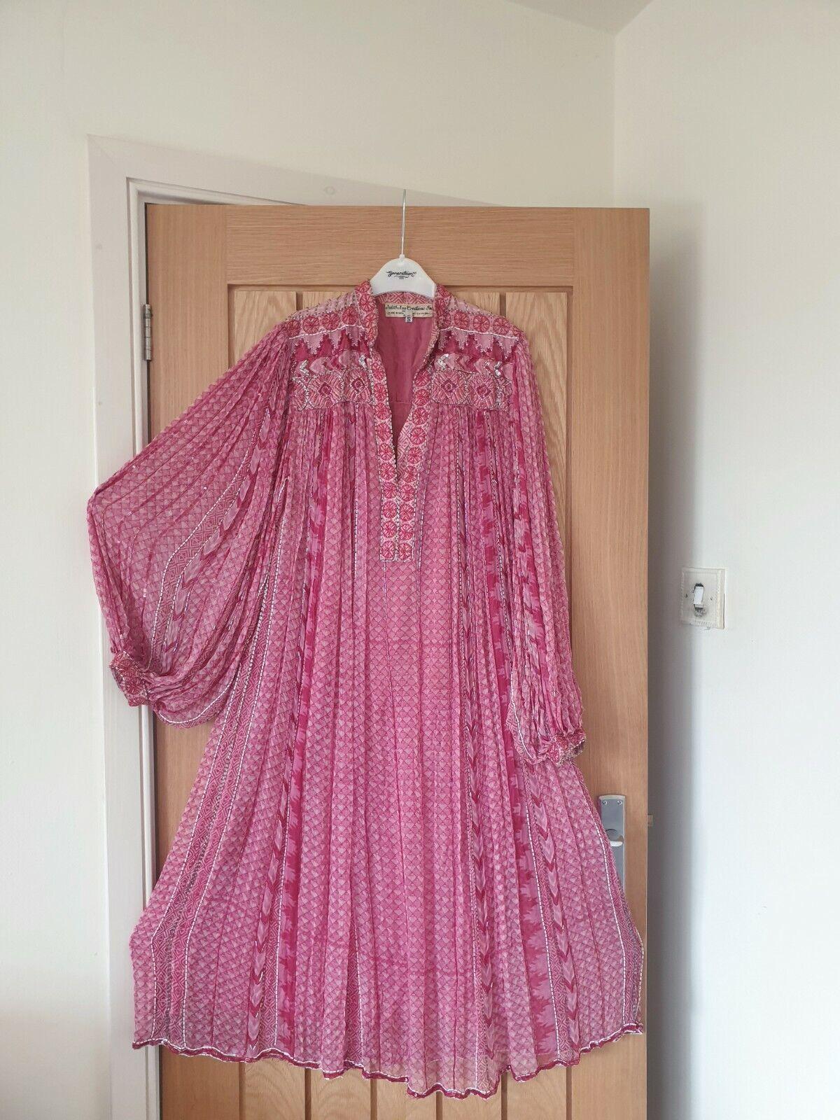 Judith Ann 70s VTG indian silk block print dress smock embroidered s m hippy