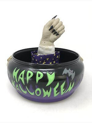 Vintage Gemmy Halloween Wizard Hand Animated Candy Bowl 2002