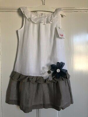 NWT Il gufo Girls Summer Linen Dress White Taupe 8A/8Y