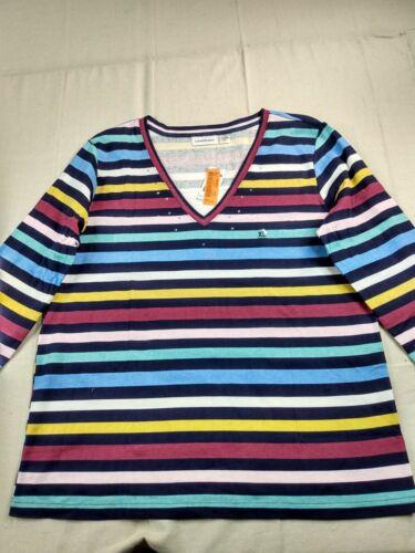 IB Diffusion - 3/4 Sleeve Striped V-Neck Shirt - Women - XL - Multicolor