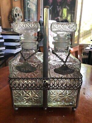 Vintage Pair Art Deco Glass Liquor Decanters Set Bottles With Caddy & Tags