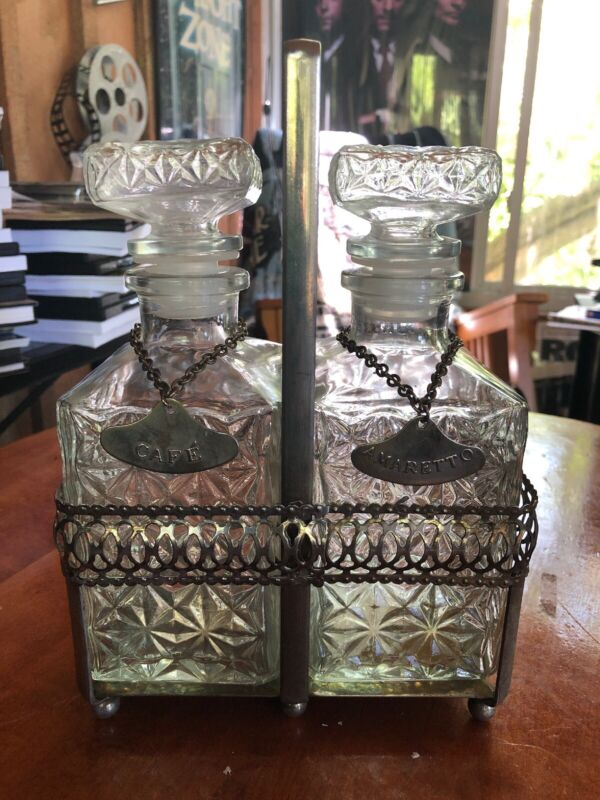 Vintage Pair Art Deco Glass Liquor Decanters Set Bottles With Caddy & Tags