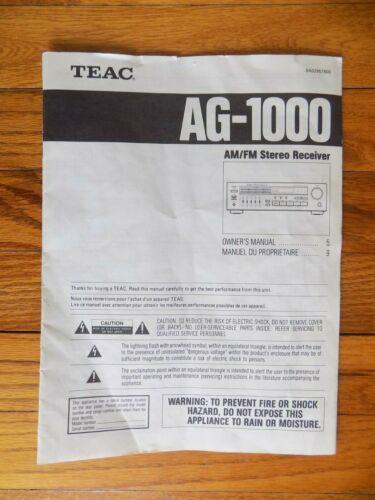 Teac AG-1000 RECEIVER Original Owners Manual