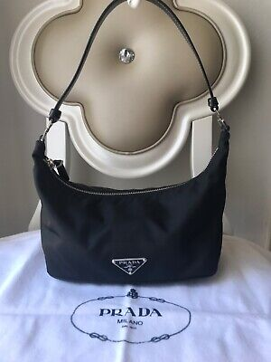 PRADA Sirio Tessuto Black Nylon Small Hobo Bag Italy Purse Leather Clutch Mint!