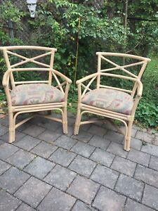 Rattan bamboo cane chairs