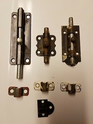 3 Piece Mixed Lot Vintage Barrel Slide Bolt Locks Salvaged Hardware Doors Latch 3 Piece Bolt