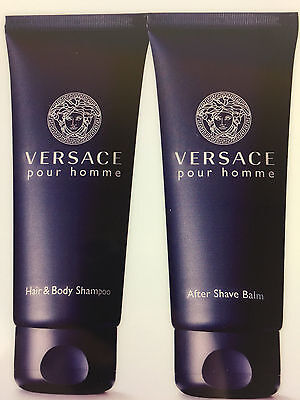 VERSACE POUR HOMME AFTER SHAVE + PERFUMED BATH & SHOWER GEL 3.4 OZ. NEW UNBOX