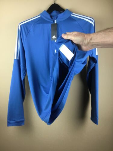 New Adidas Golf Men s Medium Blue 1/4 Zip Pullover Polyester Shirt Sweater - $38.95