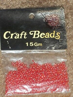 Vintage Craft Reds Round Plastic Packaged Loose Spacer Seed Beads Jewelry 15gms](Red Plastic Beads)