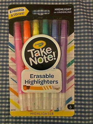6 Pack Crayola Take Note Erasable Highlighters Assorted Colors School Art Supply