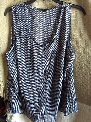 Milano XL Semi Sheer Sleeveless Blouse Top Navy Hounds tooth Style Print Scoop  Houndstooth Print Blouse