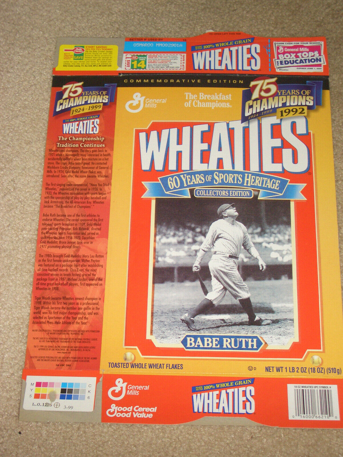 WHEATIES COLLECTIBLE CEREAL BOX - BABE RUTH - COLLECTORS ED- 60 YEARS HERITAGE  - $4.50